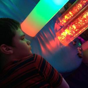 Cool Dude.. Lewis relaxing in his Multi Sensory Room..