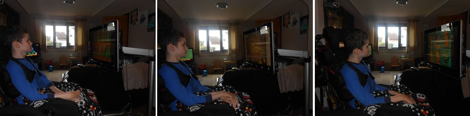 Lewis having a go on his brand new eye gaze communication system for home.