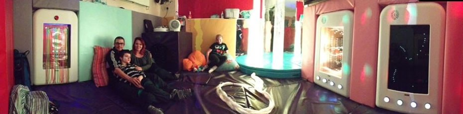 Lewis and the Herbert's in the Multi Sensory Room