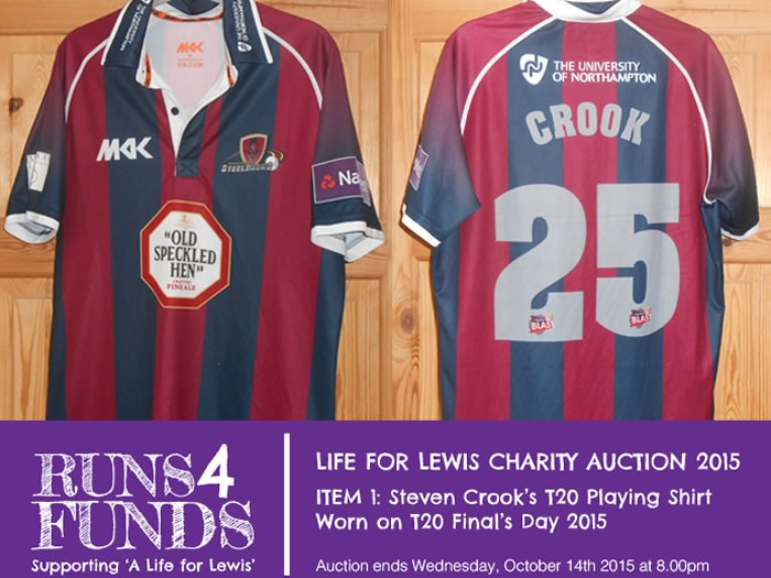 Runs 4 Funds Charity Auction.. Crooky's T20 Final's Day Shirt