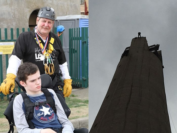 Gary Rock Abseil Northampton Lift Tower for Life for Lewis Appeal
